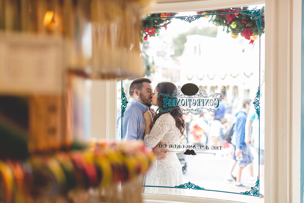 Jaime DiOrio - Disney World Engagement Photo - Orlando Wedding Photographer - Orlando Engagement Photographer - Magic Kingdom Engagement Session - Couple Kissing at Disney - Magic Kingdom Proposal.jpg