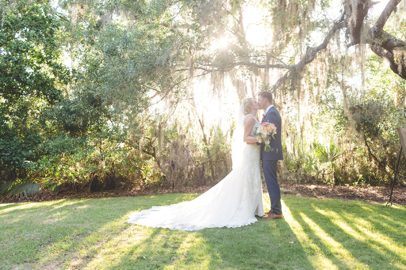 Bride and Groom outdoor portrait with gorgeous sunlight during outdoor wedding in Orlando