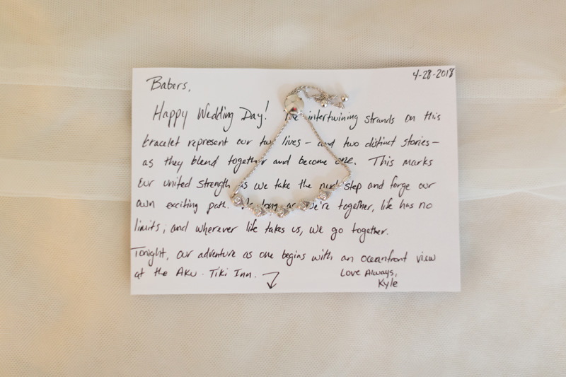 Personal note from Groom to Bride