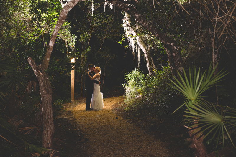 romantic evening portrait of Bride and Groom at outdoor spring wedding at Floridian Manor Estate