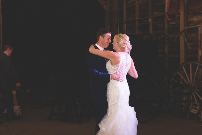 Bride and Groom first dance at their barn wedding reception