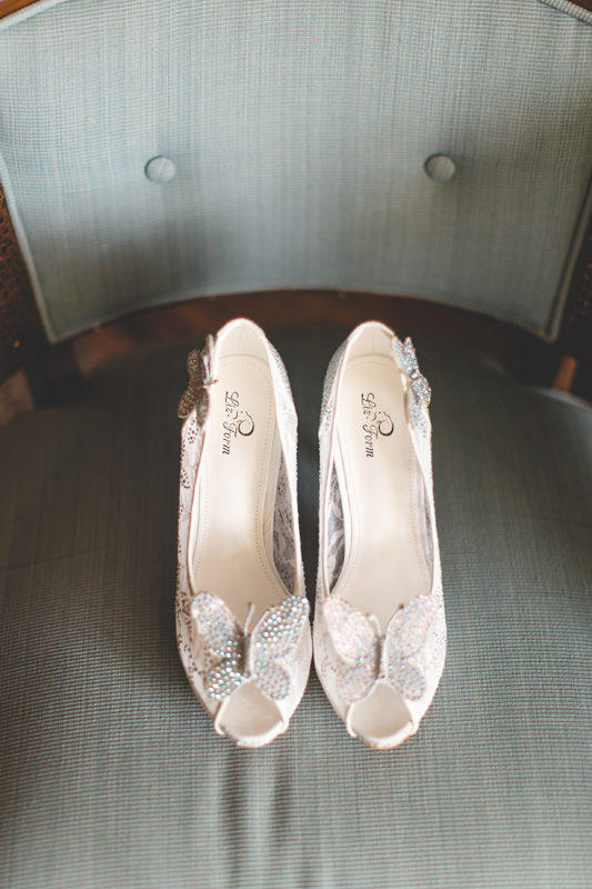 Butterfly Bridal Shoes for Disney Themed Wedding