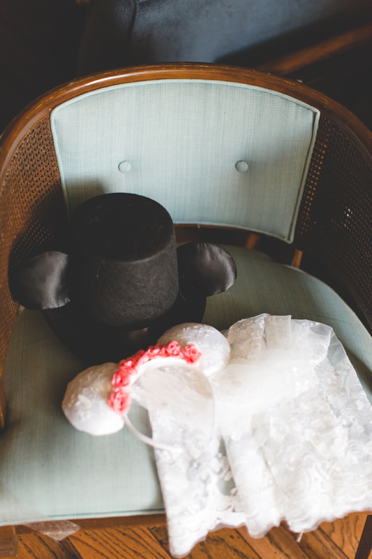 Disney Top hat and Veil for Disney Themed wedding at Rollins College