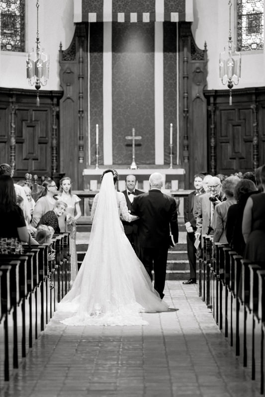 Black and White photo at Knowles Memorial Chapel Wedding Ceremony