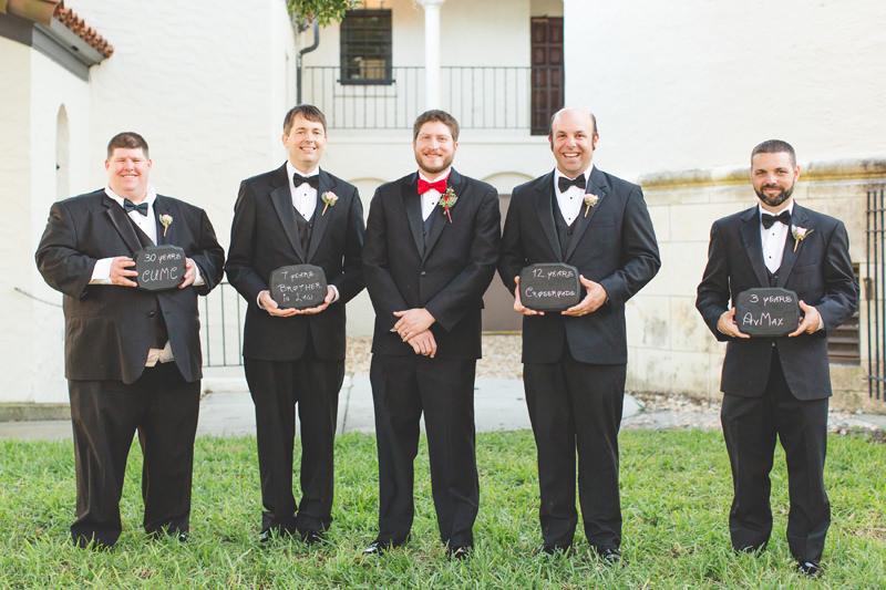 Groomsmen holding chalkboard signs at wedding