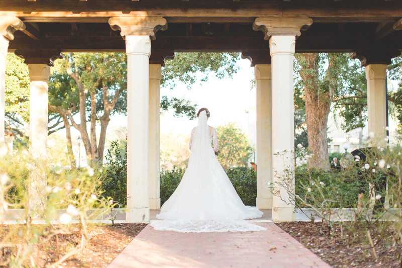 Lace Wedding Dress with lace Cathedral Veil at Knowles Memorial Chapel Wedding