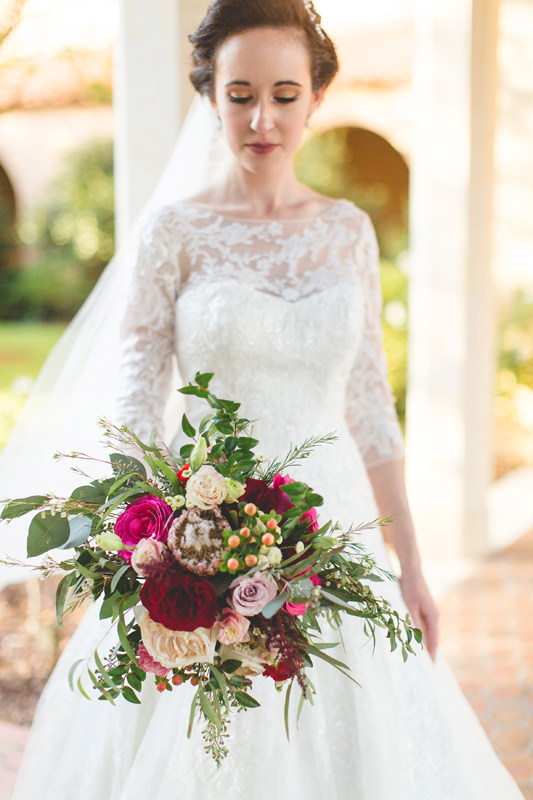 Red and Pink Bridal bouquet for winter wedding at Rollins College