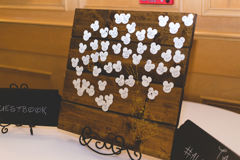 Mickey Ear guest book idea made of wood at Disney Themed Wedding