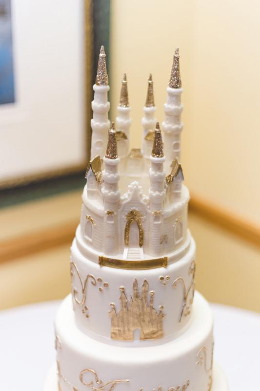 Gold and White Disney inspired wedding cake