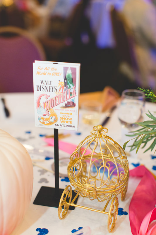 Cinderella carriage table setting at Disney themed wedding