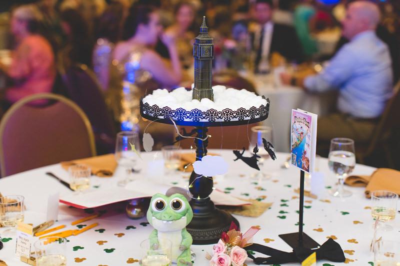 Peter Pan wedding centerpiece at Stoneybrook East Golf Club wedding reception