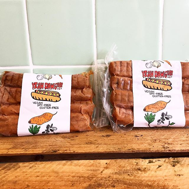 All #restocked @haymakerscorner ! Get em for the 4th of July BBQs! #Vegan #vegangrillin #veganbk #veganbbq #soyfree #glutenfree #veggiedog #veganhotdog
