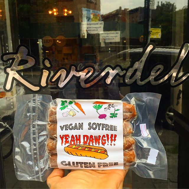 Back from my Montreal trip! All #restocked @riverdelcheese in Prospect heights! While your there pick up some of their amazing cheeses! We also #restocked @perelandrabk and @lifethymemarket ! Get your dawgs today! #Riverdel #vegan #plantbased #plantpower #YeahDawg #KeepingFakeReal #soyfree #glutenfree