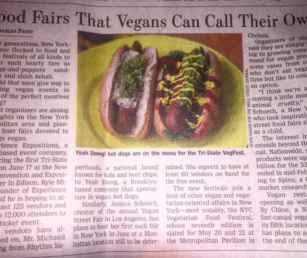 Food Fairs That Vegans Can Call Their Own (March 2017,  Wall Street Journal )