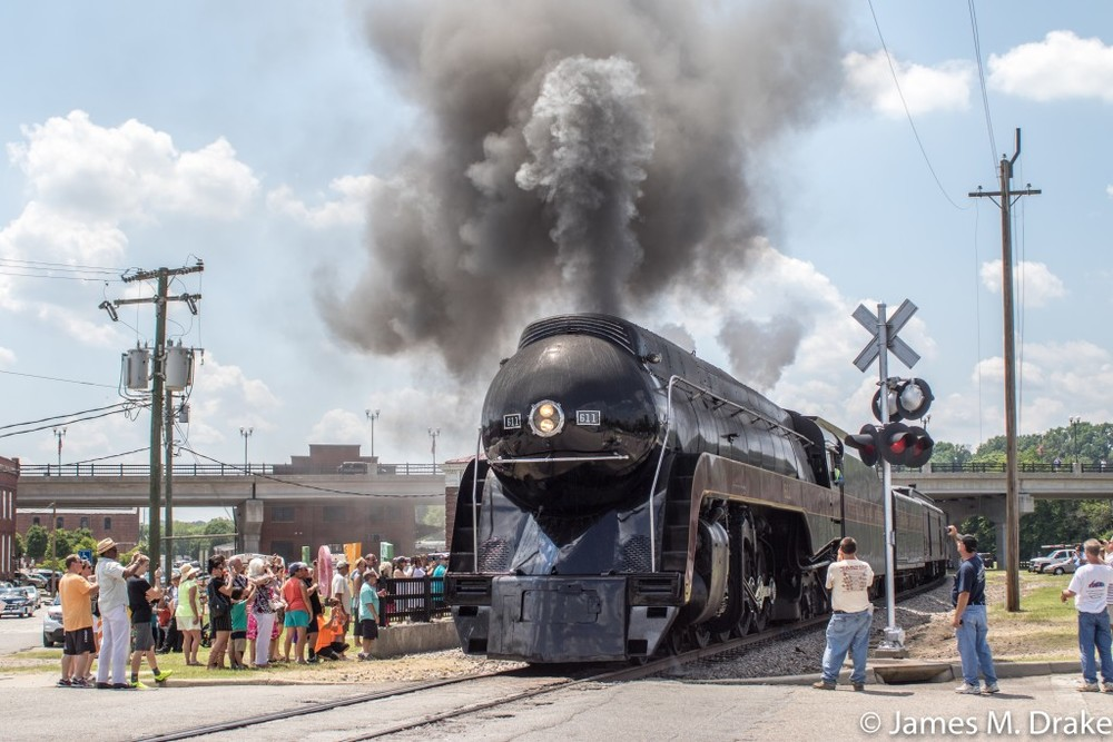 Steam Engine 611 rolls through Petersburg, Virginia
