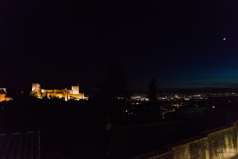 Views of Alhambra after blue hour.