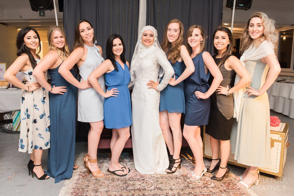 These girls could have totally been Hanan's bridesmaids with their mismatched blue tones!