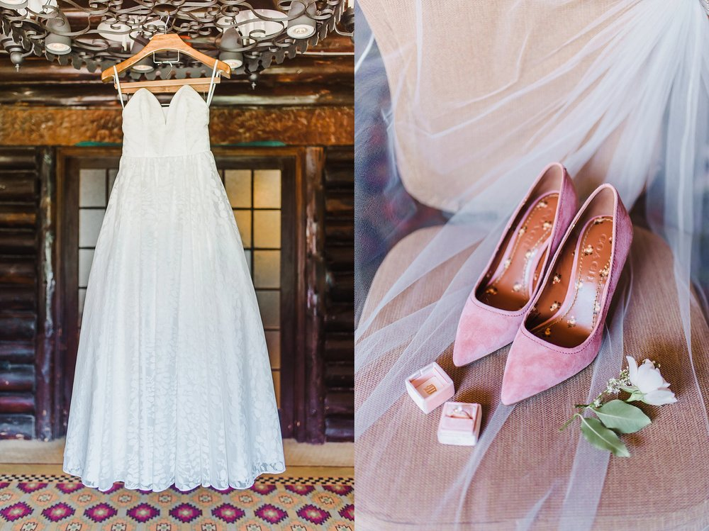 Emily's love for pink was evident in all her wedding details, and her velvet Coach heels did not disappoint.