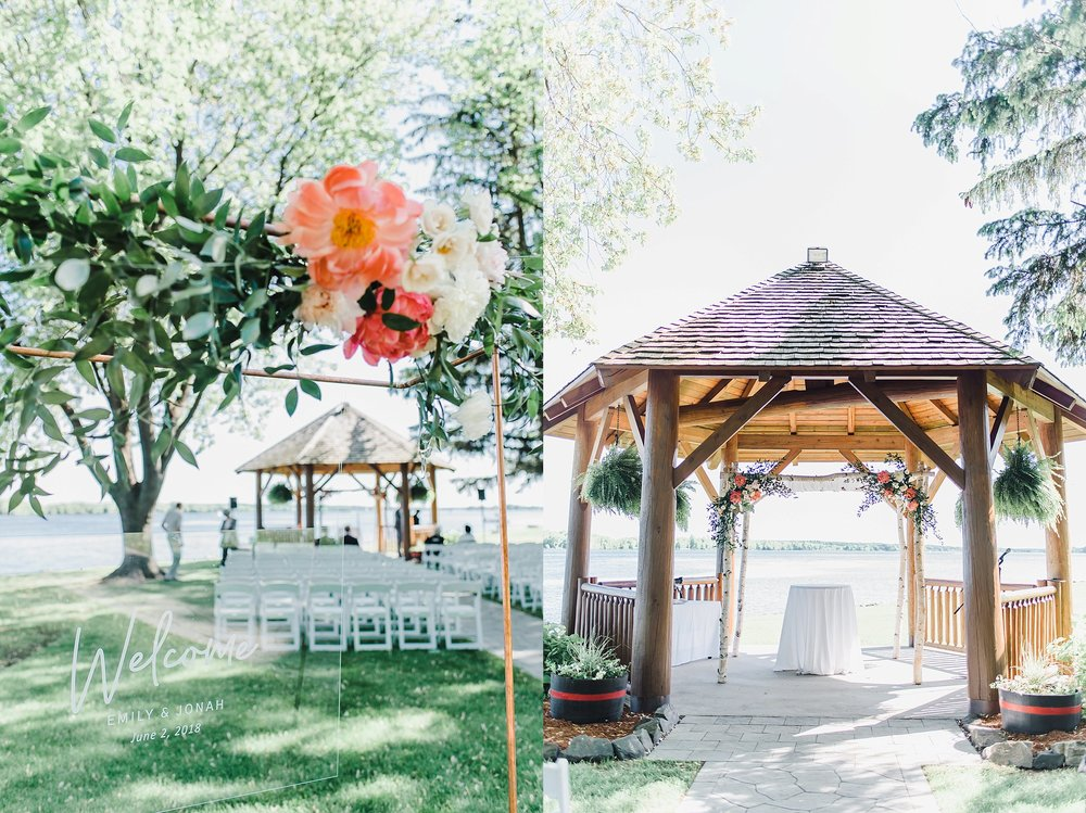 Underneath the wooden canopy, the huppah was draped with white linen and stood over a beautiful flower-filled arch.