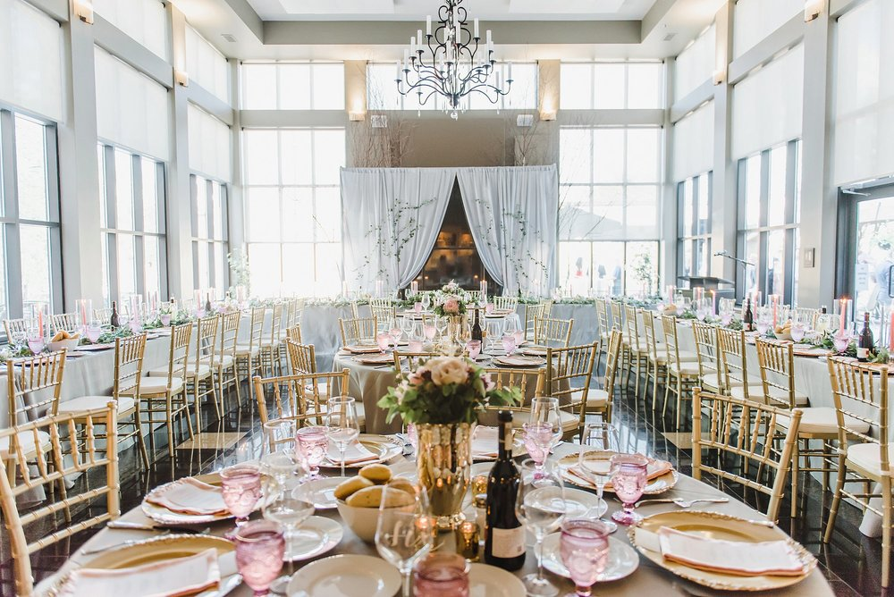 The Matheson Hall was transformed into a gorgeous reception space and those floor to ceiling windows made everything so bright and happy!