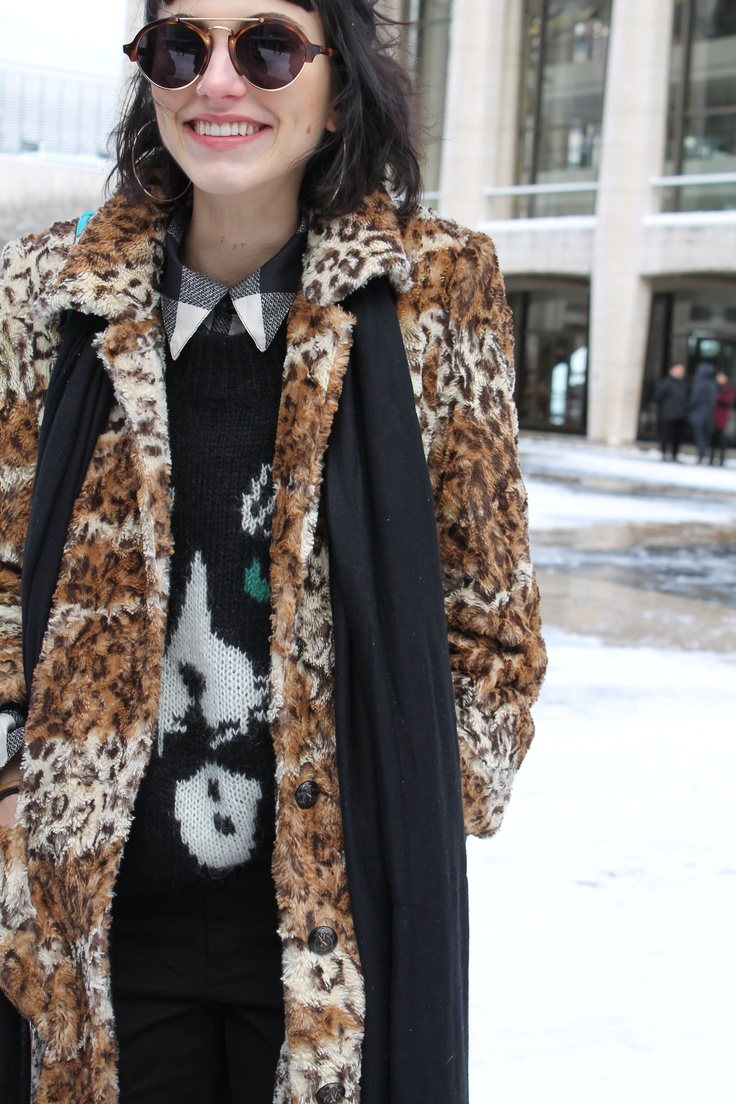 Langley Fox wearing tuxedo cat print at NYFW