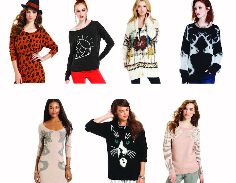 Illustrations and graphic design for sweaters, photos via Macys.com