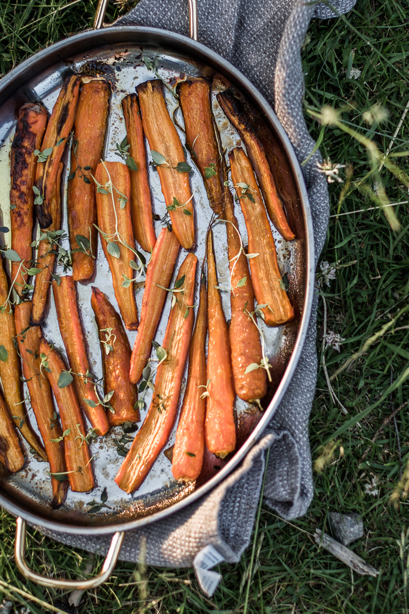 Balsamic and maple roasted carrots