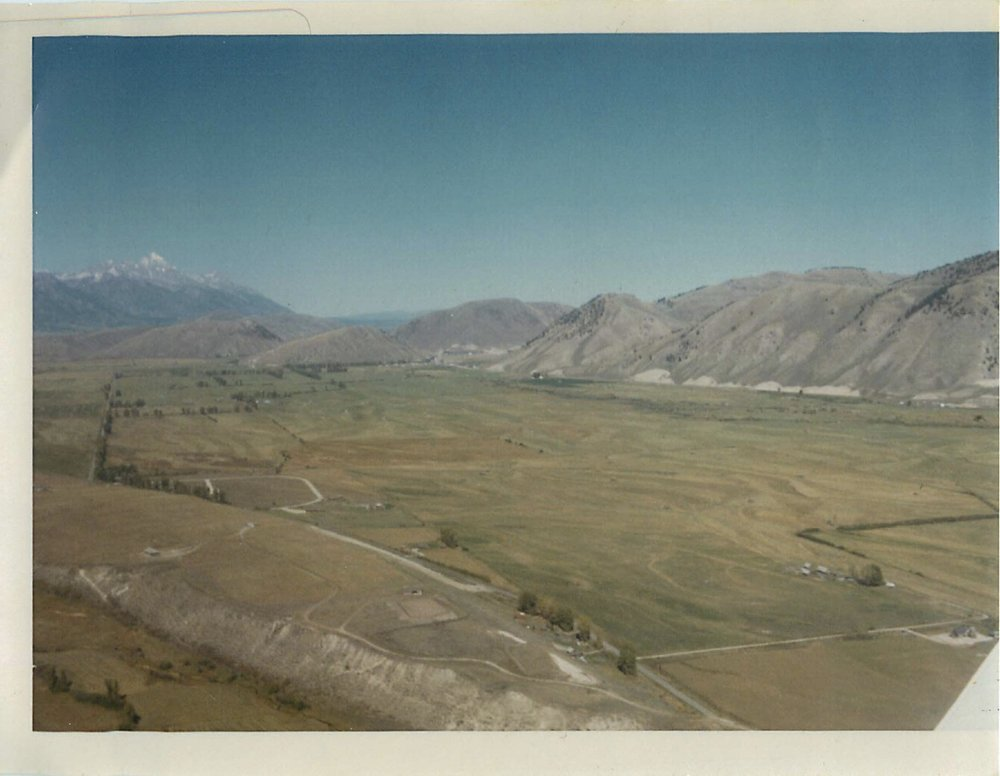 Ariel view of the Jackson Hole Hereford Ranch in 1968.