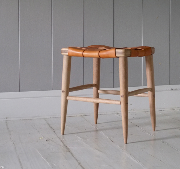 Woven Leather Ranger Low Stool