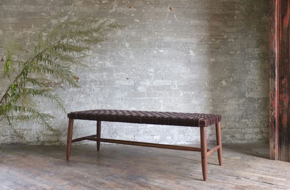 Woven Leather Ranger Bench