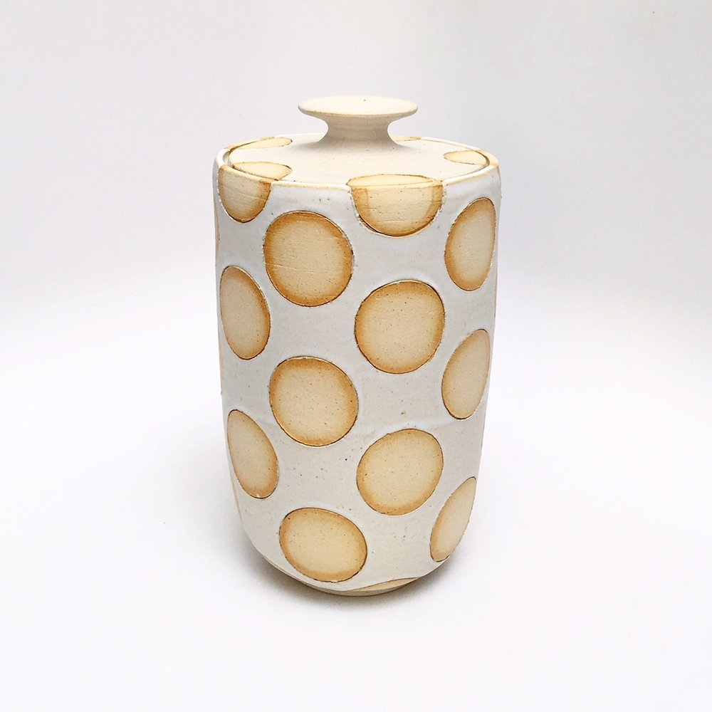 White Polka Dots Jar
