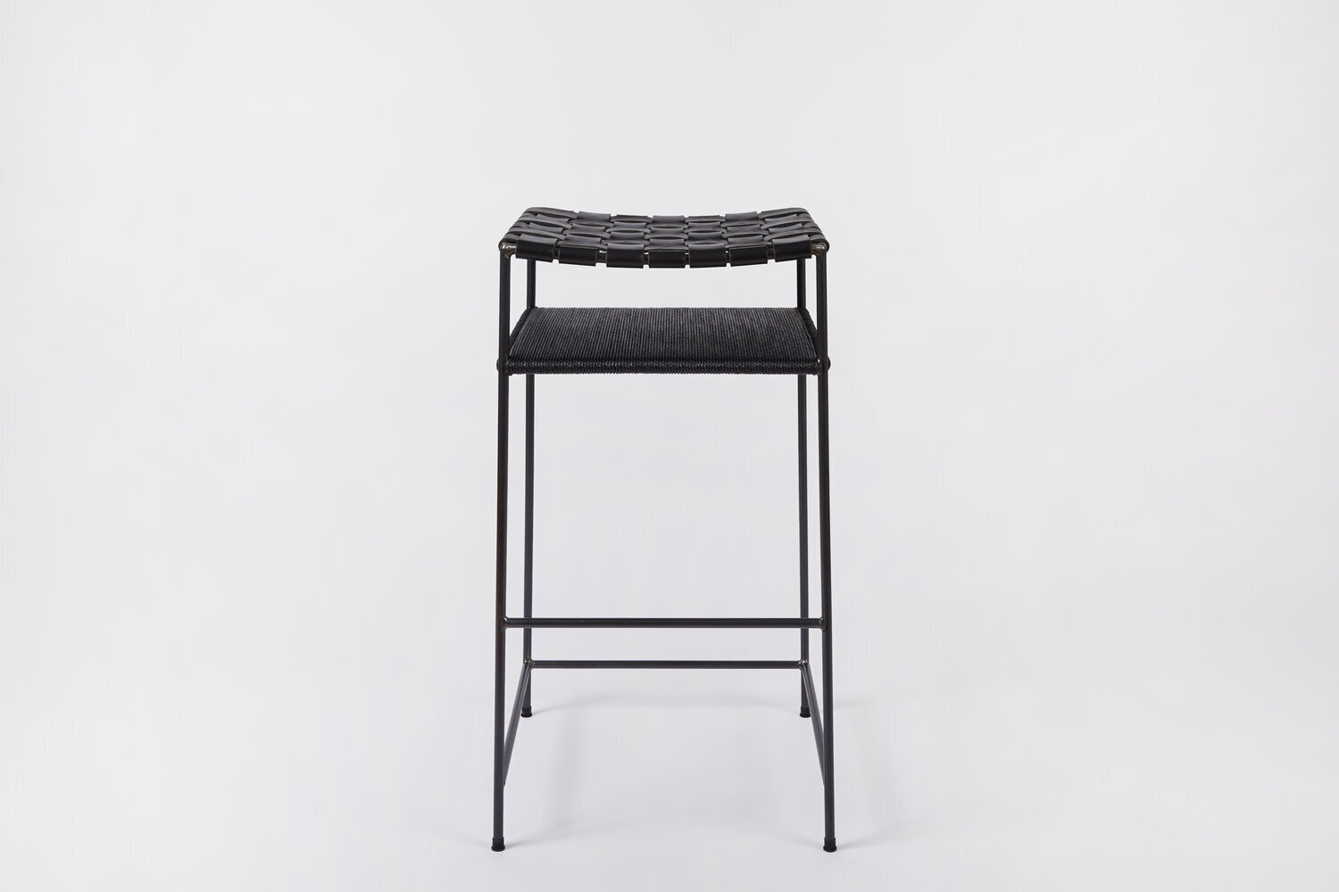 Picture of: Woven Black Leather Danish Cord Bar Stool Fair