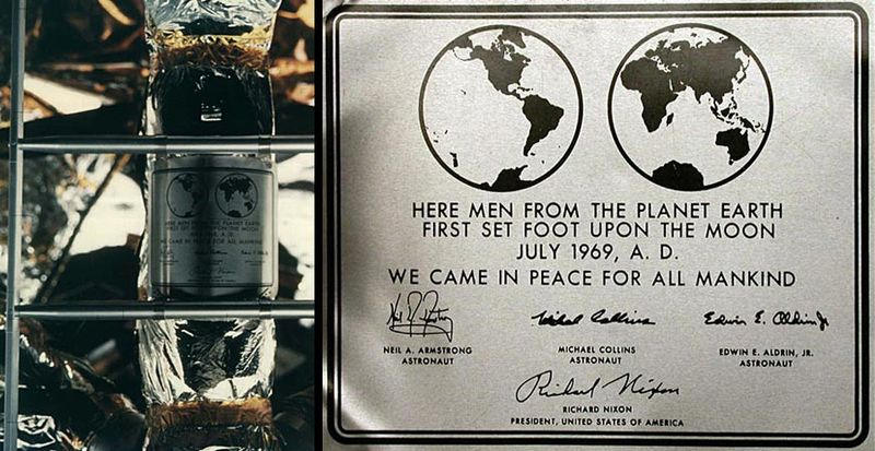 Plaque on the landing gear of the Apollo 11 lunar module. The descent stage would remain on the moon, a permanent commemoration of the first visit at the landing site. (Photo: NASA)