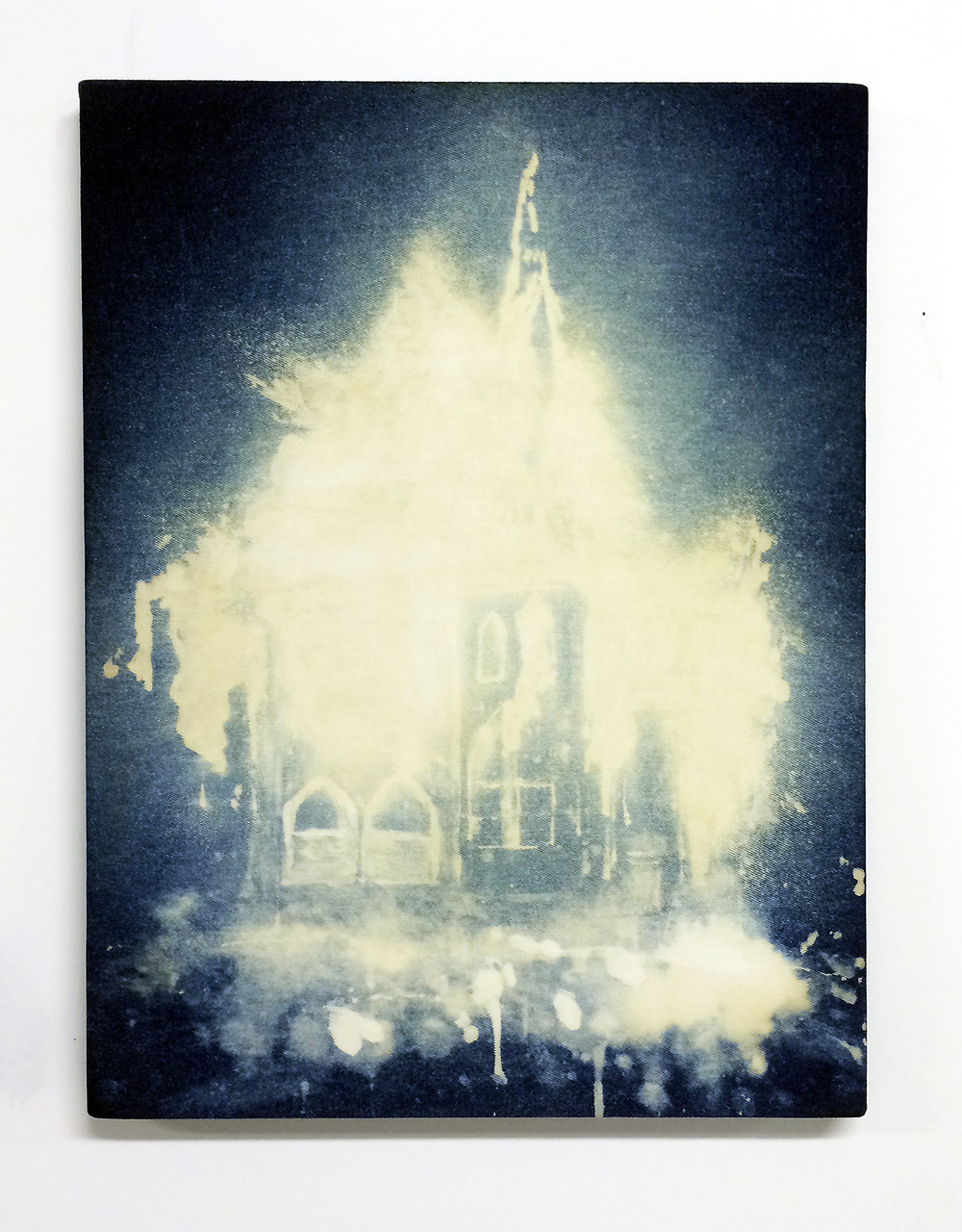 Church,  2014  Bleach on denim 18 x 24 inches