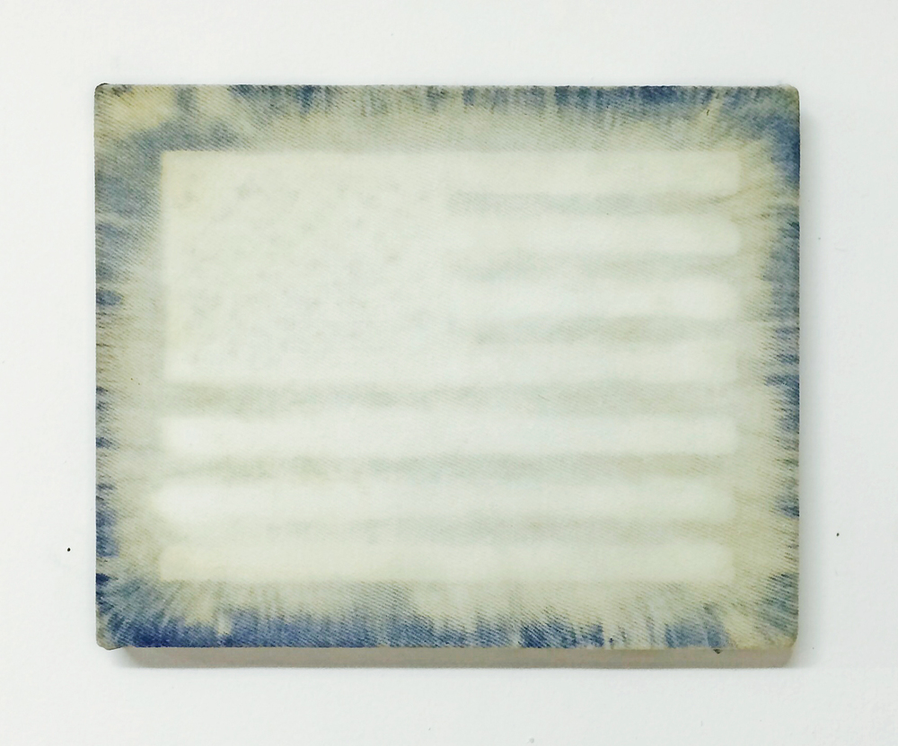 A Flag (The Flag),  2014  Bleach on denim 8 x 10 inches