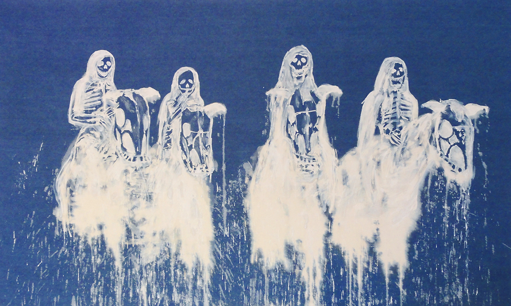 Four Horsemen (Satan Piss),  2011 Bleach on denim 50 x 84 inches