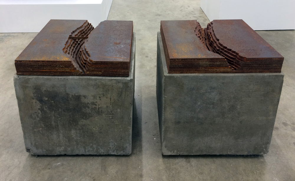 Rio Grande Gorge Bridge,  2014 Steel and concrete 12 x 12 x 15 inches each