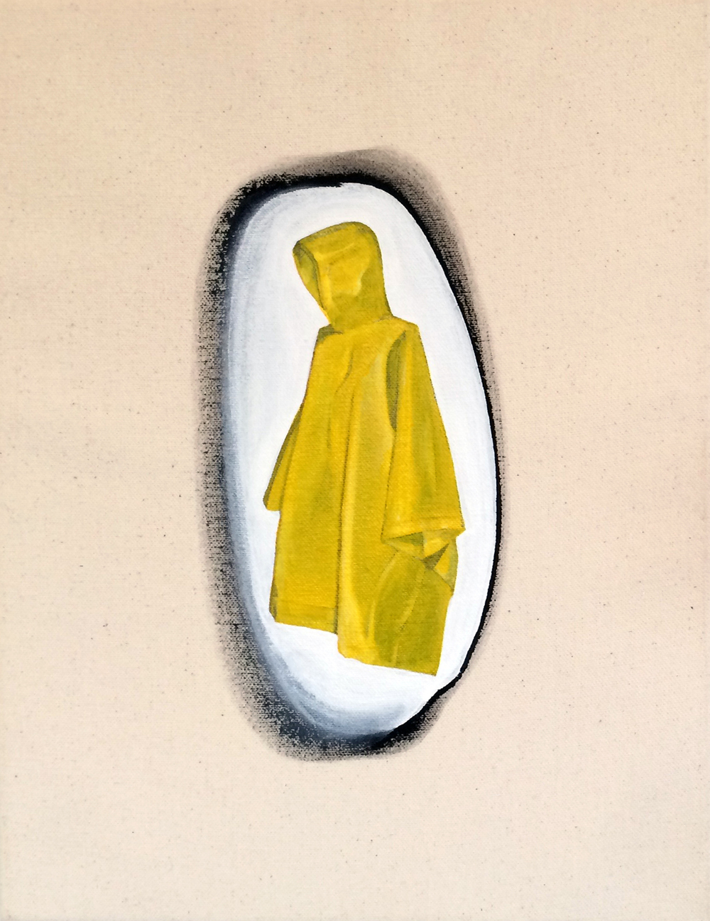 from  Atlas:  (Mini) Poncho, 2016 Gesso and acrylic on canvas 11 x 14 inches