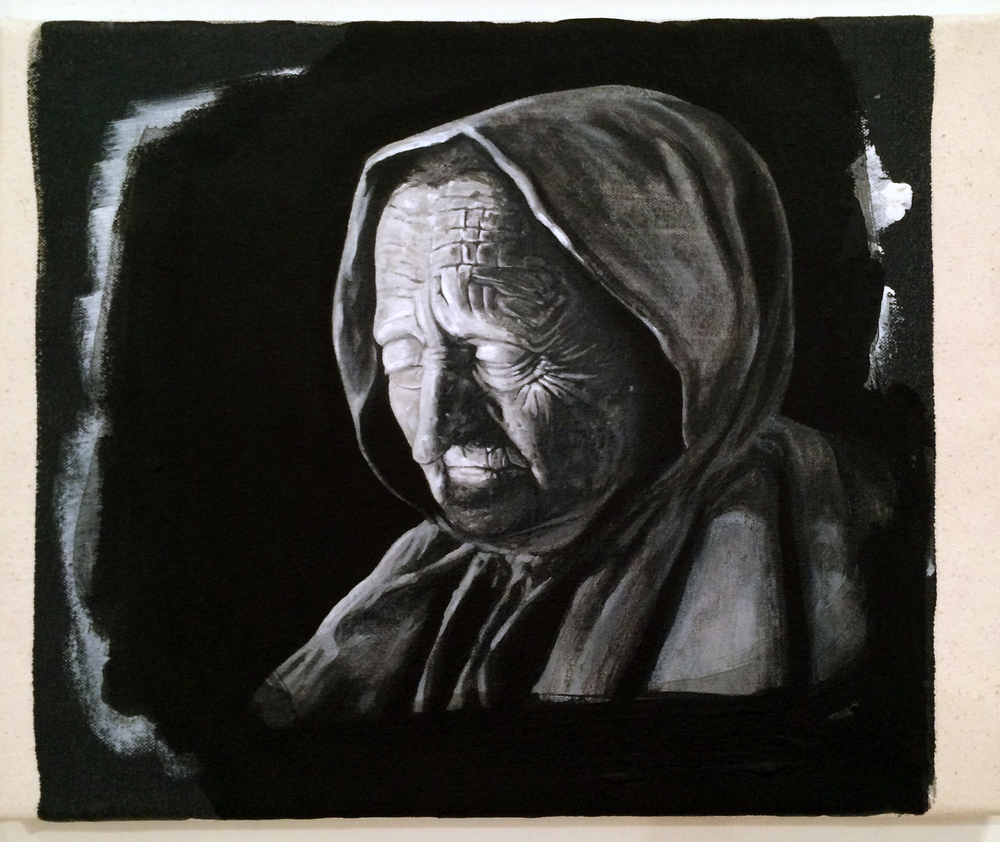from  Atlas:  Witch (Häxan), 2016 Gesso on canvas 12 x 16 inches