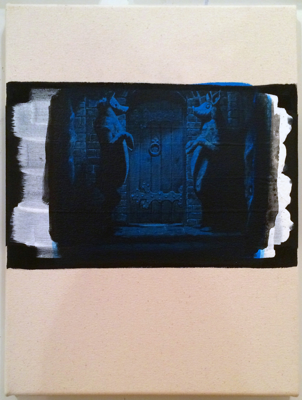 from  Atlas:  (Blue) Häxan, 2016 Acrylic and gesso on canvas 12 x 16 inches