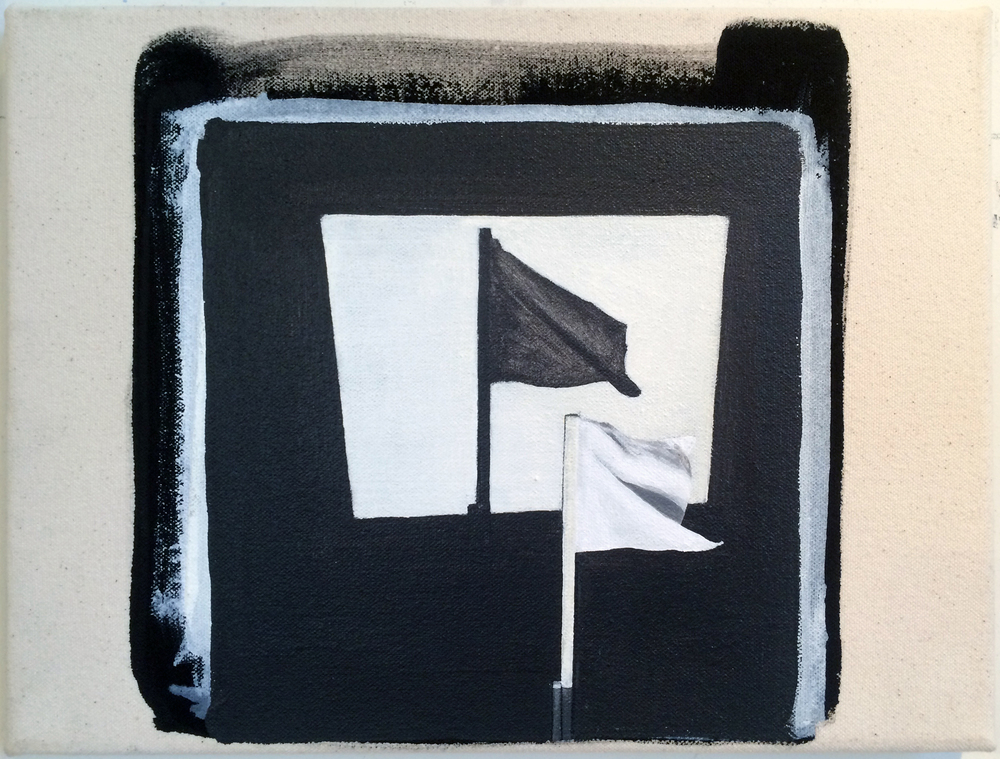 from  Atlas:  Flag (after Reichman), 2016 Acrylic and gesso on canvas 8 x 10 inches
