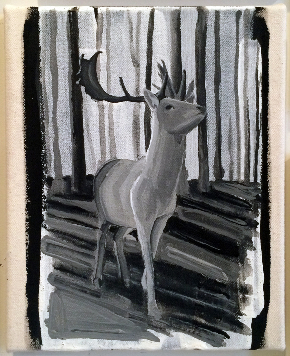 from  Atlas:  Stag, 2016 Gesso on canvas 8 x 10 inches