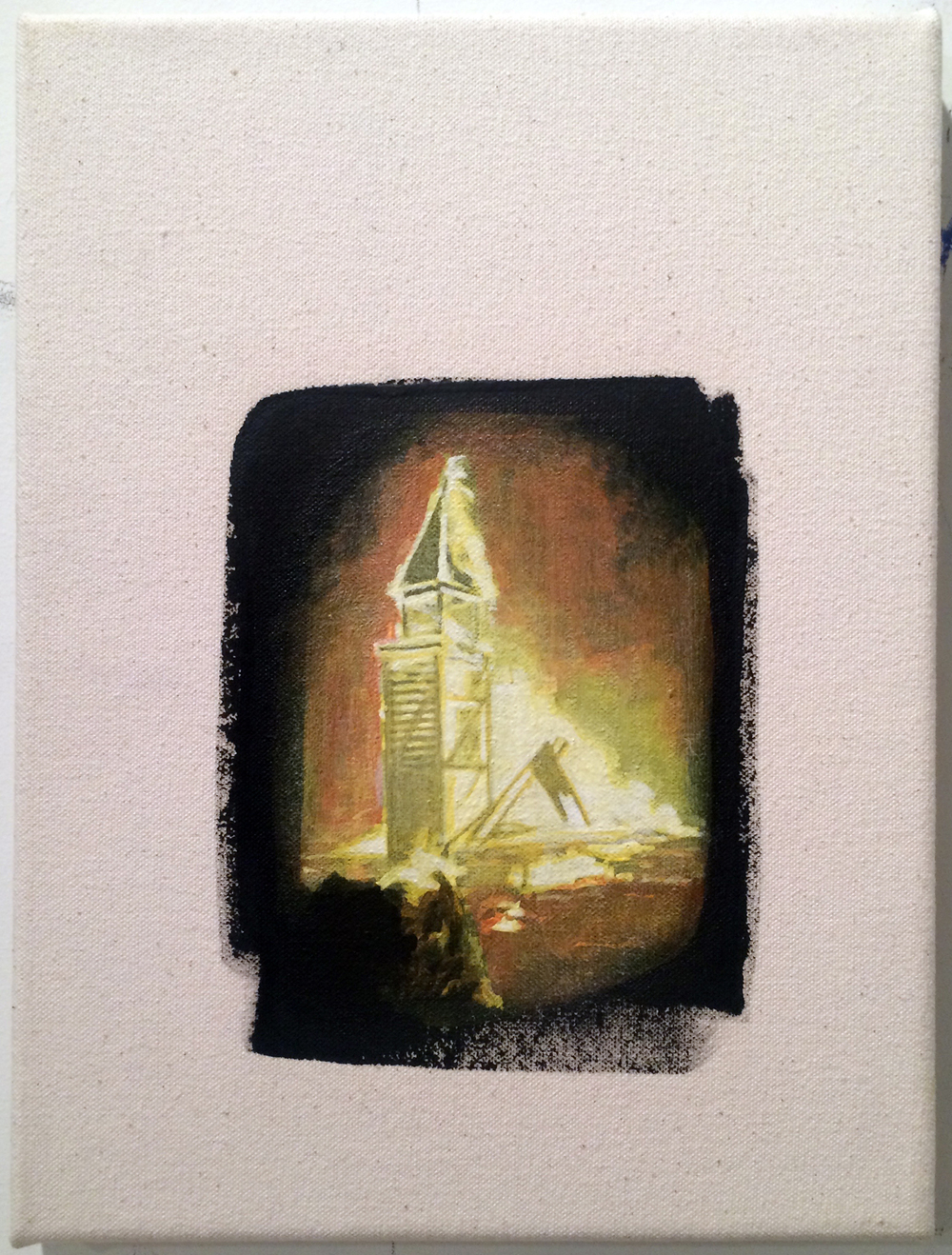 from  Atlas:  Church, 2016 Acrylic and gesso on canvas 8 x 10 inches
