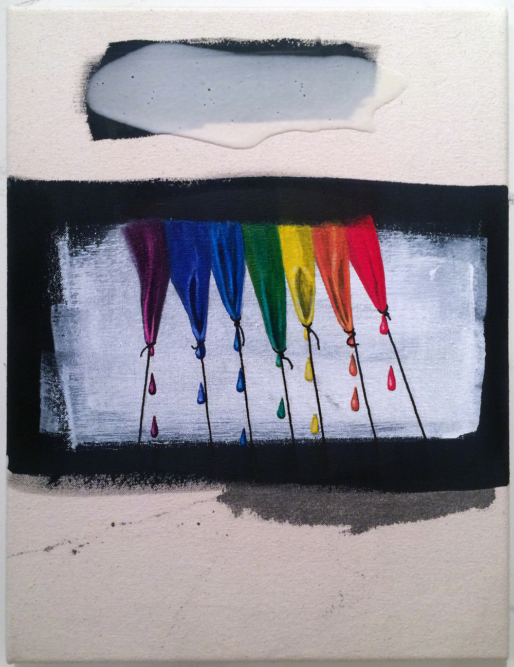 from  Atlas:  The Rainbow Goblins, 2016 Oil, acrylic, ink and gesso on canvas 12 x 16 inches