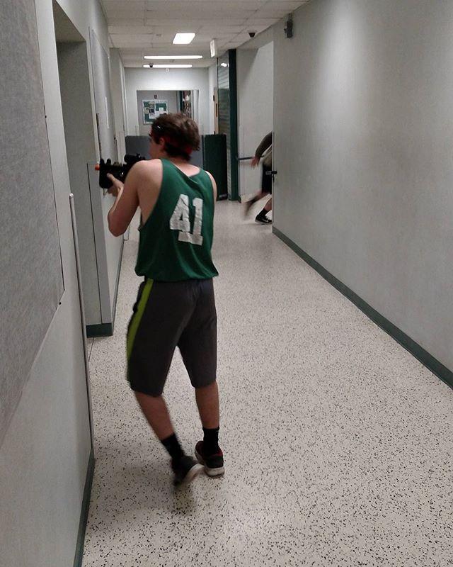 #nofilter #aroundthecorner #hallwaywarfare #lasertag
