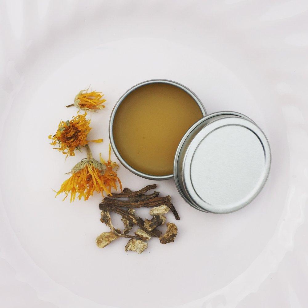 Castor Oil based skin salve featuring Calendula Flowers from the Terra Luna garden!