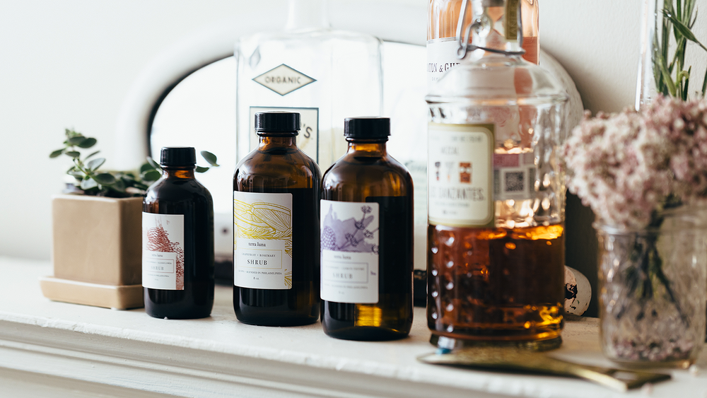 Our assortment of herbal shrubs are the perfect addition to cocktails, and can also be enjoyed with soda water as a non-alcoholic spritzer.