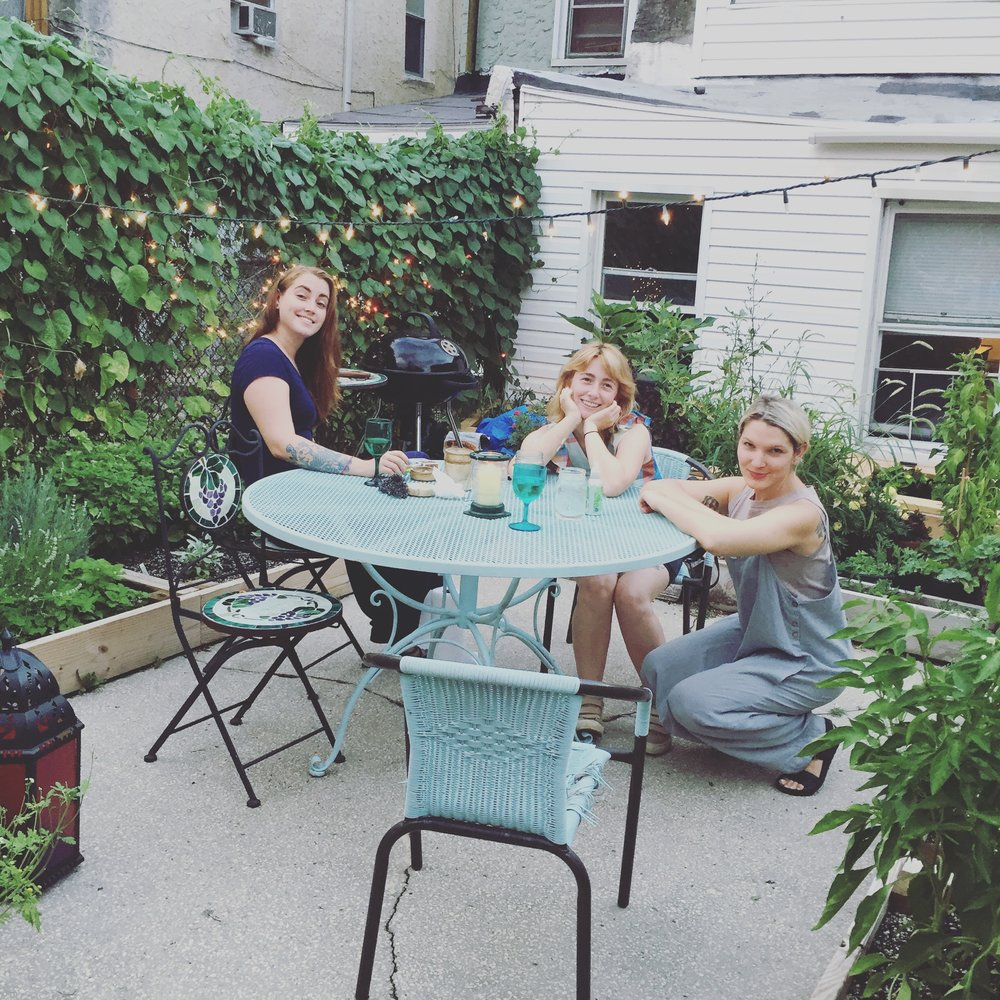 The garden has quickly become the perfect place for Summer hang outs.  - friends + plants together at last