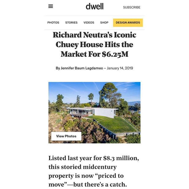 Thank you @dwellmagazine, @curbedla, and @galeriemagazine for featuring my Richard Neutra listing in the Hills. Available for $6,250,000.  #HollywoodHills #ForSale #Neutra #Views #LARealEstate