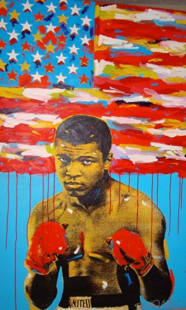 Pop art painting of Muhammad Ali by  John Stango